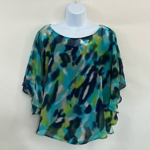 Cato Multicolor Flutter Sleeve Blouse Size M G-10
